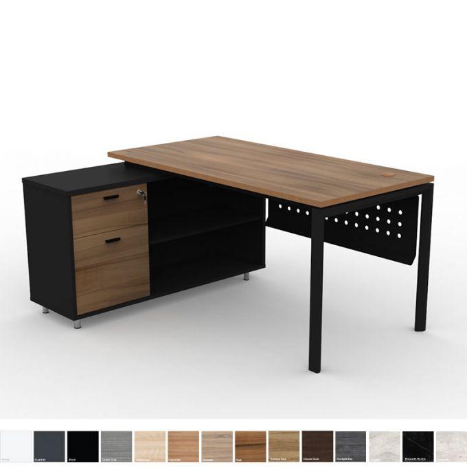 Officeintrend โต๊ะทำงาน L-Shape ขาดำ New Viro พร้อมตู้ Caddy Cabinet ดำ